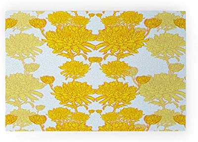 "Society6 Yellow Sewzinski Chrysanthemum Welcome Mat, 30"" x 20"""