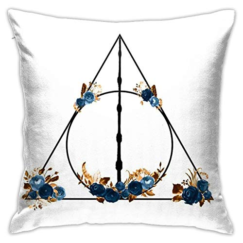 ANYA TOPSHOP Autumn Home Decorative Throw Pillow Covers 18x18 Inch, Stain Resistant, Deathly Hallows in Blue and Brown Floral Deathly Hallows Pillowcases Cushion Cover for Office Children Room Bar