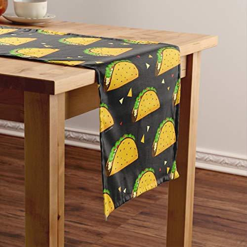 CICIDI Yummy Taco - Camino de mesa corto, mantel para fiestas, cenas, vacaciones, cocina, 33 x 70 pulgadas
