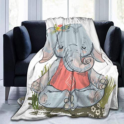 Manta de Tiro de Felpa acogedora de Elefante Lindo Hecha de Manta de Tiro de Franela de Felpa Decoraciones de sofá de Cama para el hogar