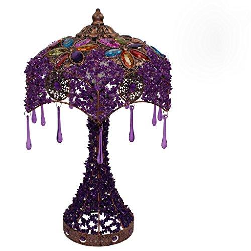 Lampe de chevet chambre violet européen Lampe de table salon pastoral lampe