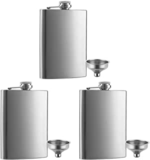 3 Pcs 8 oz Hip Stainless Steel Flask & Funnel Set by QLL, Easy Pour Funnel is Included, Perfect Flask that Fits Great in Jacket Pockets and Pants