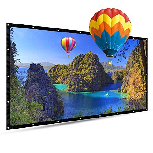 100 Inch Portable Projector Screen, FLOVEA 16:9 Foldable Outdoor Front Movie Screen, Lightweight, Folding Movie Screen for Camping/Home Theater/Education/Office Presentation
