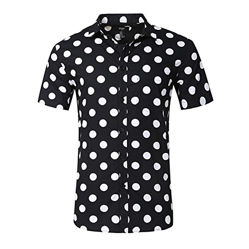 NUTEXROL Camisa Superior de Manga Corta con Estampado de Lunares para Hombre Camisa Casual de Algodón
