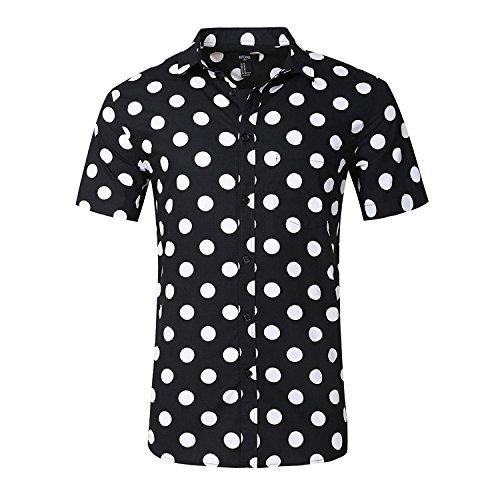 NUTEXROL Camisa Superior de Manga Corta con Estampado de Lunares para Hombre Ropa de Vestir Camisetas Casual de Algodón, Vestirse Sola o Dentro de la Chaqueta o Abrigo