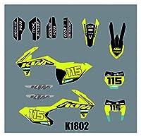 Hjunisshkm オートバイグラフィックプロテクターの背景KTM SX 2016-2018 EXC 2017-2019のためのデカールステッカーキット HFDYJ (Color : 2)