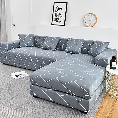 LIWENFU Sofa-Cover-elastische Couch-Cover-Sektionsstuhlabdeckung Es braucht Ordnung 2pieces-Sofa-Cover Wenn Ihr Sofa Eck-L-Form-Sofa ist (Color : Color14, Specification : 4 Seater 235 300cm)