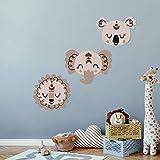 Boho set tres cabezas de animales set 3 | paneles de pared PVC corte de contorno con efecto 3D o pegatinas de corte de contorno | decoración de pared para la habitación del bebé y de los niños