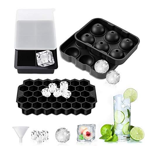 TWBEST Eiswürfelform, 3 Stück Silikon Eiswürfel Form Mit Deckel Eiswuerfelbehaelter, LFGB Zertifiziert Eiswürfelformen Ice Cube Tray Eiswürfelbehälter für Familie Partys 6+6+37 Fach