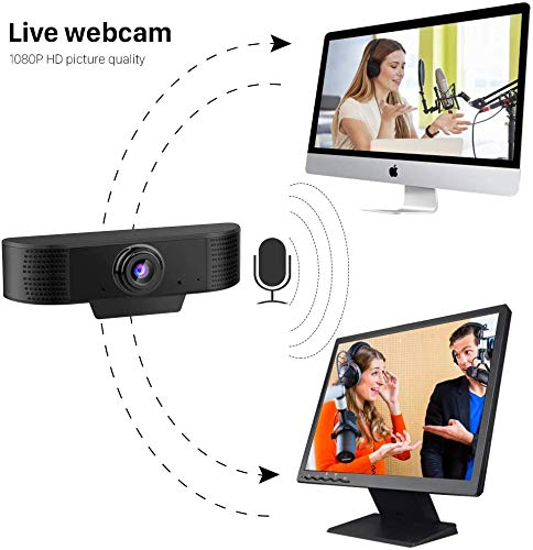 DELT Webcam mit Mikrofon, 1080P HD Webcam Streaming Computer Webkamera