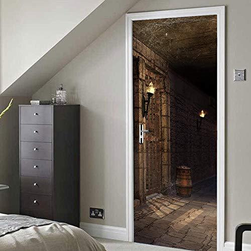 TWSPCF Mural de la puerta 3d Carteles engomada del arte Mazmorra oscura Usado para cocina dormitorio de baño Sala De Estar extraíble Autoadhesivo Decoración Del Hogar 90x210cm