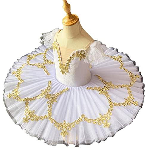 SHADIOA Vestido de tut de Baile de Ballet, Leotardo con Falda Camisola, Ropa de Baile de Bailarina, Trajes de tut de Lago de los cisnes para actuacin,Blanco,120CM