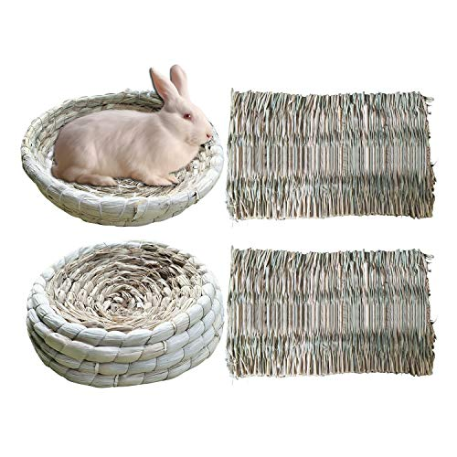 S-Mechanic 2 Pack Bunny Corn Husk Beds with 2 Pack Grass Mats Woven Straw Mats Bedding Basket for Rabbits, Guinea Pig, Chinchilla, Hamster (2 Pack Beds & 2 Pack Mats)