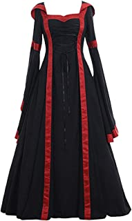 Cosplay Dress Women's Vintage Celtic Medieval Floor Length Dress Black