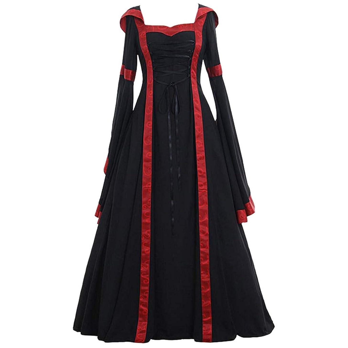 Caopixx Dress for Women Elegant 1950s Vintage Long Sleeve Medieval Dress Floor Length Cosplay Costume Princess Dress