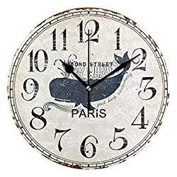 LSDINDF Retro Whale Dark Blue Arabic Numerals Wall Clock Decorative Living Room Bedroon Kitchen Battery Operated Round Clock Unique