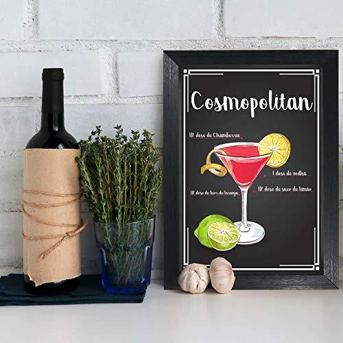 Quadro Bebida Cosmopolitan 22x32cm Moldura Preta