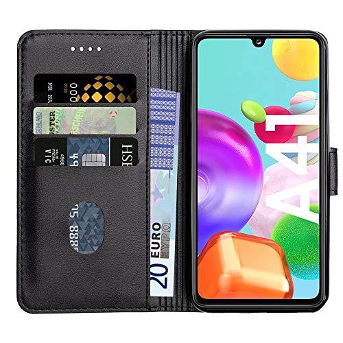 Baiyian Ledertasche Brieftasche Schutzhülle Flip Hülle für Samsung Galaxy A41, Schwarz