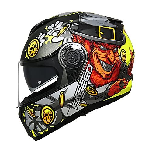 FAMYNGL Casco Integrale Casco da Downhill Motocross Casco Sportivo con Fori di Ventilazione per Una Ventilazione e Un Raffreddamento ottimali Adatto per la Protezione di Sicurezza Multi-Sport,L