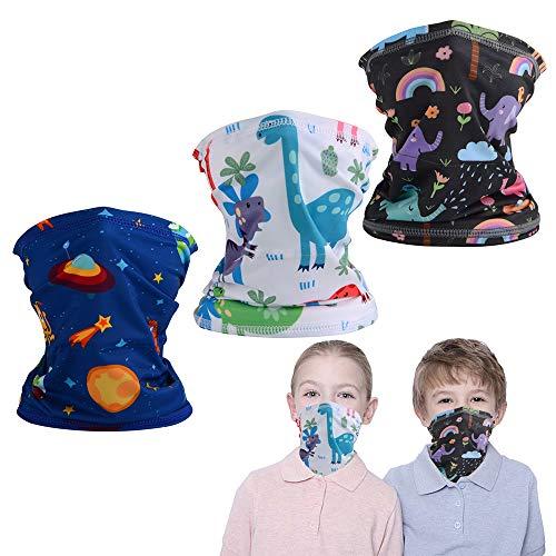 FCNEHLM 3 Pcs Cooling Neck Gaiters for Kids, Summer Kids Face Cover, Thin Bandana for Boys Girls Outdoor