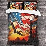Juego de sábanas de Pintura al óleo Eagle Flag de América Juego de sábanas Transpirables Resistentes a Las Manchas Funda de Cama Microfibra Ultra Suave 3 Piezas con sábana