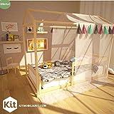 Casa de sueños, Cama Montessori Matrimonial y Repisa Cuentos Nordico De Madera Infantil Kit