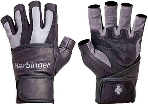 Harbinger Men's BioFlex WristWrap Weightlifting Gloves with Spider Grip Leather Palm (Pair), Small