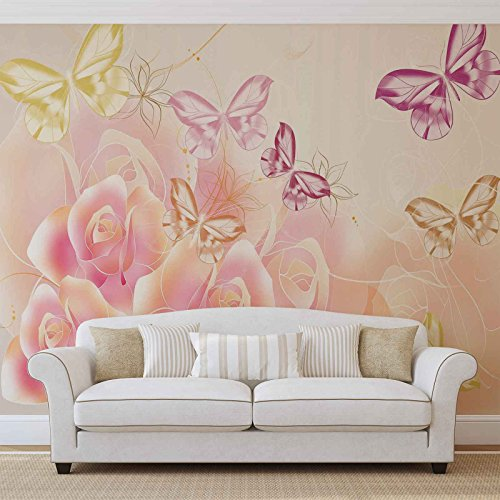 Schmetterlinge Blumen Rosen - Forwall - Fototapete - Tapete - Fotomural - Mural Wandbild - (543WM) - XXL - 368cm x 254cm - Papier (KEIN VLIES) - 4 Pieces