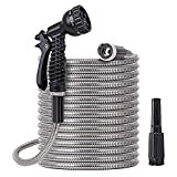 Metal Water Hose 100 ft - Stainless Steel Water Hose with 2 Nozzles, Outdoor Portable, Lightweight, Tangle Free & Kink Free, Heavy Duty, High Pressure, Flexible, Dog Proof