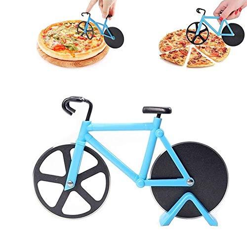 ROBAKO Pizzaschneider Fahrrad Pizzaschneider/Edelstahl Doppel Pizza Schneider/rostfreier Stahl/Geeignet für Haus und Küche/Blau