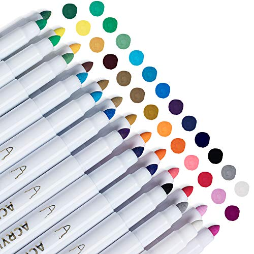 Acrylic Paint Markers for Canvas Glass Rock Wood Ceramic Shoes Mugs, Craft Supplies for Adults Kids, Acrylic Paint Pens Set of 25 Colors