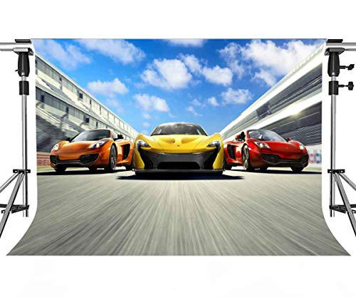 Meets 7x5ft Race Track Backdrop Runway Racing Background Themed Party Photo Booth YouTube Backdrop HUIMT133