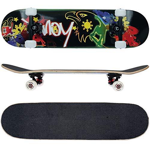 FunTomia Skateboard mit ABEC-9 Kugellager Rollenhärte 100A und 100% 7-lagigem kanadisches Ahornholz (Adler schwarz)