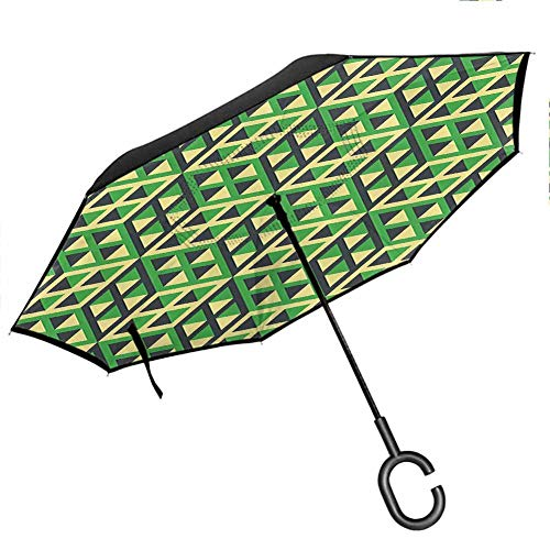 Geometric Double Layer Inverted Umbrella Upside Down Isometric Cubic Diamond Line Pattern with Triangles Mosaic Design Green Black Light Yellow