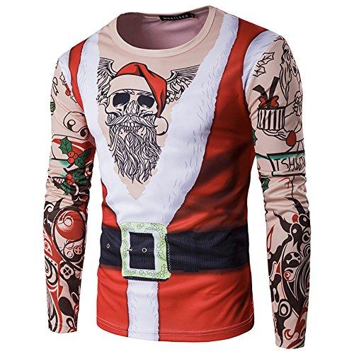 Camiseta Navidad Hombre Moda Mangas Largas 3D Digital Impresión Casual Santa y Nieve Alces Tops (S, Esqueleto de...