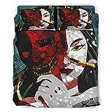 Wandlovers Juego de cama de 4 piezas, funda nórdica y fundas de almohada, diseño japonés Geisha Hannya, color blanco, 228 x 228 cm