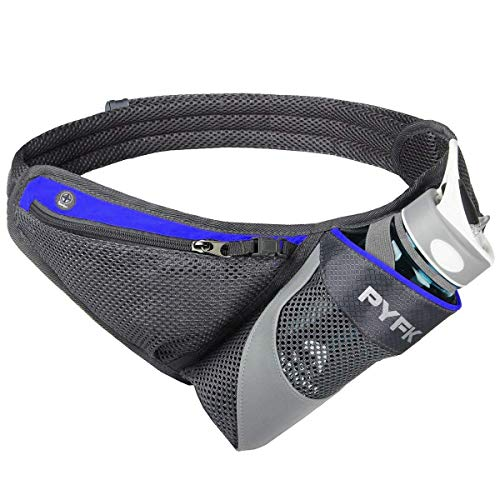 PYFK Running Belt Hydration Waist Pack with Water Bottle Holder for Men Women Waist Pouch Fanny Bag Reflective (Blue)