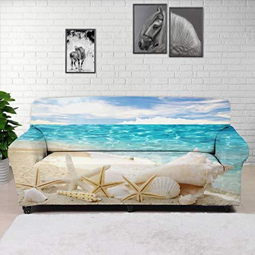 Hugding Funda de sofá con estampado de estrellas de mar y estrellas de mar en la playa, diseño tropical de océano con estilo de tela de poliéster