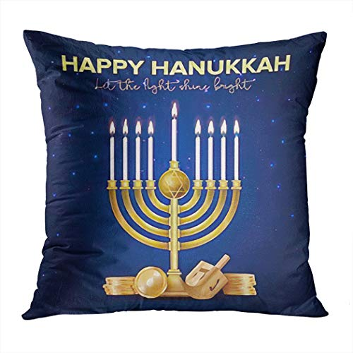 Shining Menorah Throw Pillow Cover,Jewish Holiday Hanukkah Realistic Menorah (Traditional Candelabra),Cushion Cases ShamsIndoor OutdoorDecor Living Room Bedroom Office Cotton Pillowcase,20'x20'