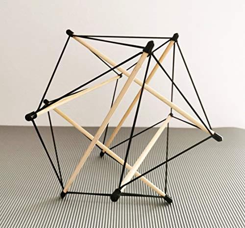 Tensegrity einzigartige Konstruktion Ø 25 cm mit 6 Stäbe als Lehrmodell Faszien Praxis Yoga Therapie Dekoration Top Geschenkidee (Schwarz, Holz)
