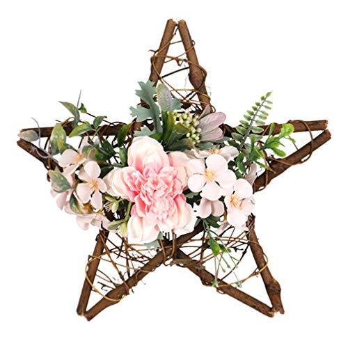 VOSAREA Künstlicher Blumenkranz Weinstock Stern Kranz Haustür Hängen Kranz Dekoration Dekorative Fenster Kranz Girlande Rosa