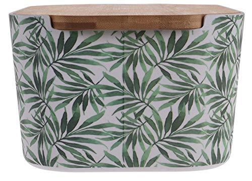 Panera de bambú tropical, hoja de palma, con tapa Design 3