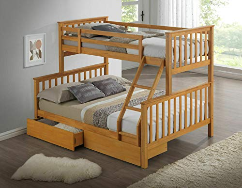 Carbed shop New Beech Three Sleeper Kids Wooden Bunk Bed With Drawers