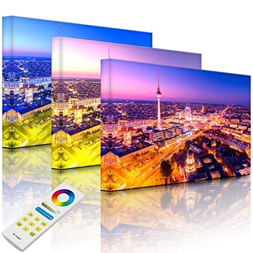 Lightbox-Multicolor | Wanddekoration Leuchtbild | Berlin City Panorama | 80x60 cm | Fully Lighted