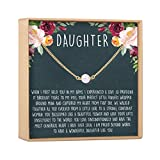 Daughter Necklace - Heartfelt Card & Jewelry Gift for Birthday, Holiday & More (Pearl)