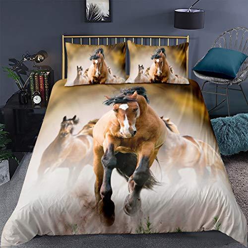 Erosebridal Wilde Pferde Bettbezug King Size Pferd Teens Tröster Bezug Tiermuster Dekor Bettwäsche gedruckt Quilt Cover für Erwachsene Kinder Cowboy weich atmungsaktiv einfacher Stil Tagesdecke
