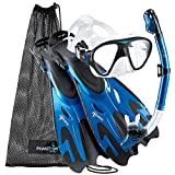 Phantom Aquatics Italian Collection Legendary Panoramic View Mask Fin Dry Snorkel Set with Deluxe Snorkeling Gear Bag… (Metallic Blue, M/L, 9-12)