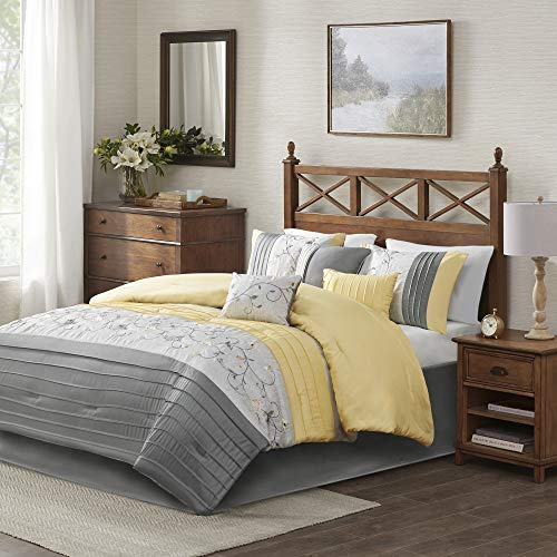 "Madison Park Serene Faux Silk Comforter Floral Embroidery Design All Season Set, Matching Bed Skirt, Decorative Pillows, King(104""x92""), Yellow 7 Piece"