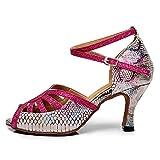AOQUNFS Zapatos de Baile Latino Mujer Salsa y Bachata Zapatos de Baile de Salon,QJW5002-Rojo-7.5,EU 37
