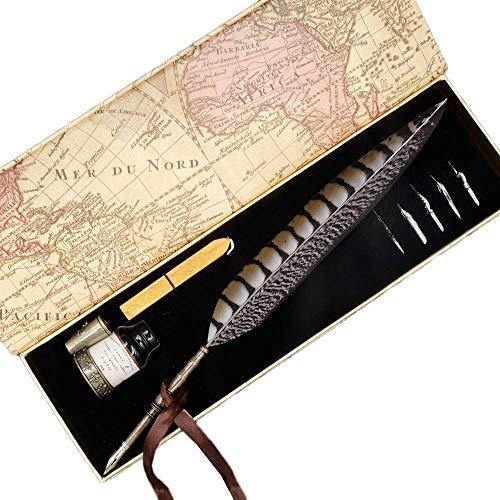 GC Quill - Set di penne stilografiche a forma di piuma antica con inchiostro e pennini, con 6 pennini e 1 portapenne, 1 ceralacca